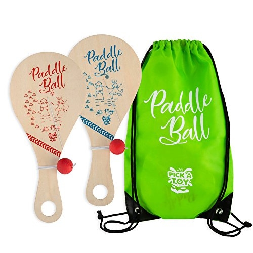 (Wooden Paddle Ball Toy(Set of 2) with Carry Bag - Indoor Outdoor Toy: Fun and Classic Paddleball Game for Boys and Girls, Party Favor Toys Ages 4+)