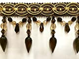 """4"""" Crystal Beaded Tassel Fringe Trim TF-32/8-12 Brown & Gold (Sold by the yard)"""
