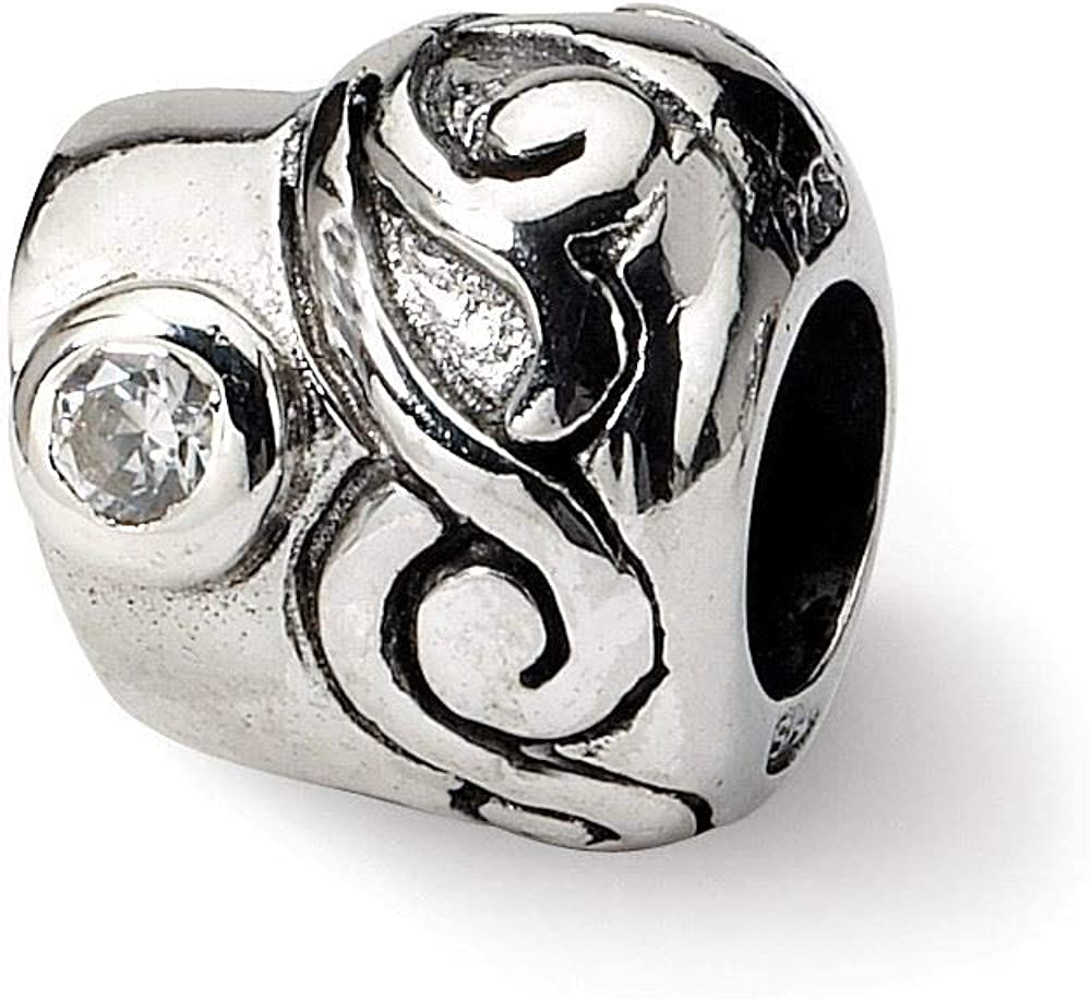Sterling Silver Reflections Synthetic CZ Bead