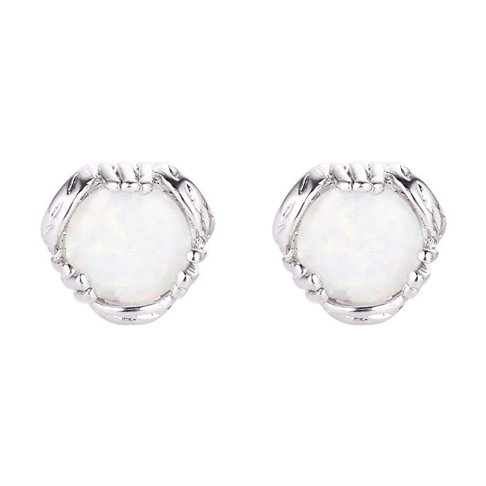 Round Stud Earrings 925 Sterling Silver Big White Opal Finger Shape Stud Earring Silver around white Opal Rongxing Ear0586-WT