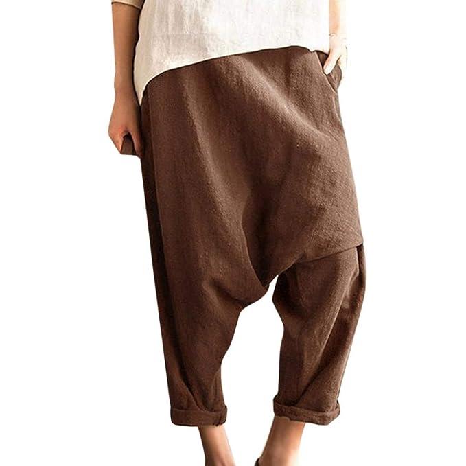Amazon.com: Pantalones de lino y algodón para mujer, estilo ...