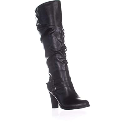 Style & Co. Womens Sana Leather Slouchy Mid-Calf Boots | Mid-Calf