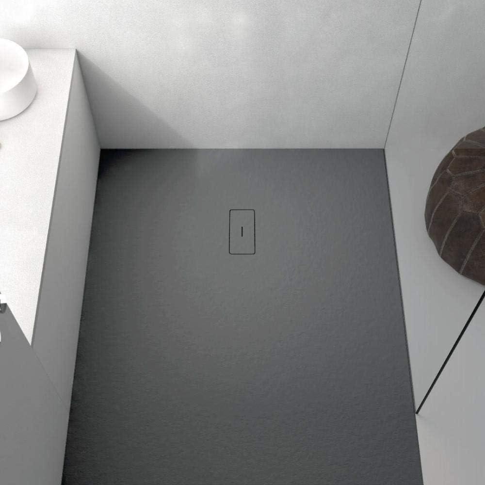 Plato de ducha resina MADISON CURVE de 80 cm de ancho STANO ANTRACITA 80x80 cm (radio 50): Amazon.es: Bricolaje y herramientas
