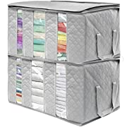 Sorbus Foldable Storage Bag Organizers, 3 Sections, Great for Clothes, Blankets, Closets, Bedrooms, and more