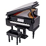 Black Baby Grand Piano Music Box with Bench and Black Case - Plays Fur Elise