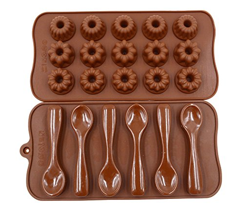 Mold Chocolate Spoon (Qpower 2 Pcs Silicone Chocolate Decorating Baking Mould Spoon Flowers Shape Cake Mold Fondant Pastry Moulds)