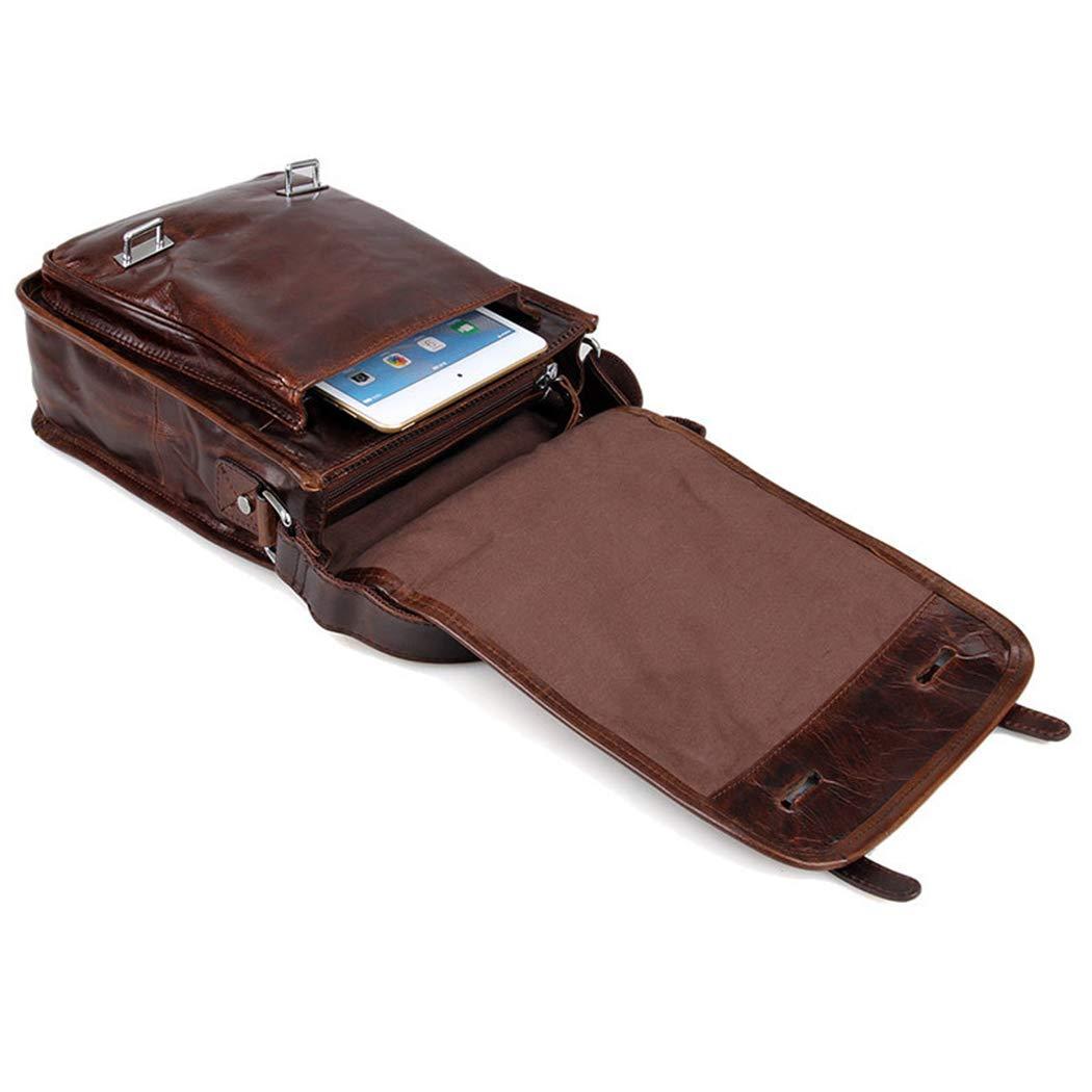 YWY Shoulder Messenger Bag Leather Business Briefcase Fashion Retro Mens Tablet Bag,23928