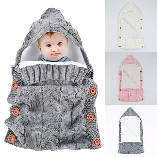 Newborn Baby Swaddle Blanket Wrap Sleeping Bags Nap Blanket,Yinuoday Infant Toddler Thick Warm Fleece Knitted Crochet Hooded Swaddle Wrap Sleep Sack Crib Stroller Wrap for 0-18 Month New