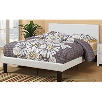 this item white faux leather padded full size bed frame with 13 slats and rails and footboard