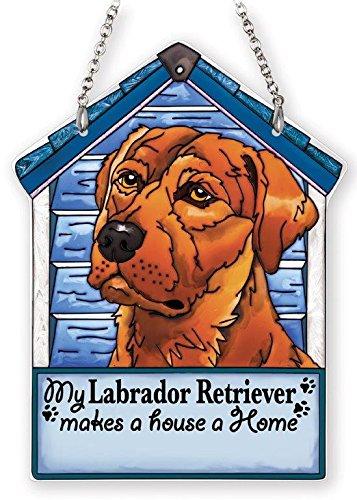5-1//2 by 7-1//4-Inch Amia 42104 Hand Painted Glass Brown Labrador Retriever Dog House Suncatcher