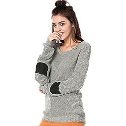Allegra K Women's Drop Shoulder Cartoon Cat Patch Loose Sweater Jumper XS Grey
