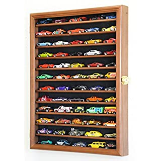 Hot Wheels Matchbox 1/64 Scale Diecast Model Display Case Cabinet Wall Rack w/98% UV Protection -Walnut