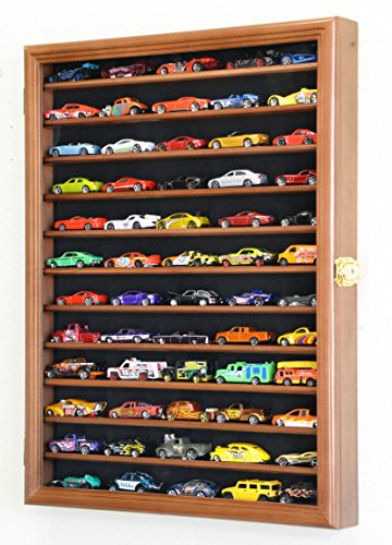 sfDisplay.com, Factory Direct Display Cases Hot Wheels Matchbox 1/64 Scale Diecast Model Display Case Cabinet Wall Rack w/98% UV Protection -Walnut from sfDisplay.com, Factory Direct Display Cases