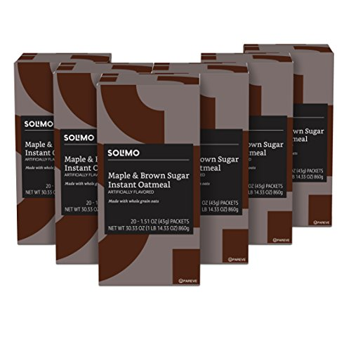 Solimo Instant Oatmeal, Maple & Brown Sugar Flavored, 20 packets (Pack of 6)