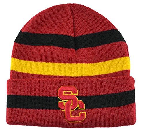 USC Trojans Football Cuffless Beanie - Black Striped Usc Trojans Cap