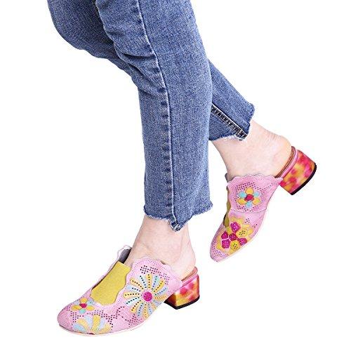 Gracosy Vrouwen Muilezels Schoenen, Ronde Neus Platform Slippers Schoenen Leren Muilezels Sandalen Klompen Hakken Schoenen Roze