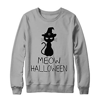 Meow Halloween Cat Lovers Costume Happy Halloween Men Women Hanes -  Ultimate Heavyweight Crewneck Sweatshirt Light 0d4360255e