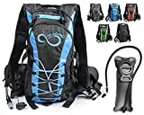 Live Infinitely Hydration Backpack with 2.0L TPU Leak Proof Water Bladder- 600D Polyester -Adjustable Padded Shoulder, Chest & Waist Straps- Silicon Bite Tip & Shut Off Valve- (Blue Edges)