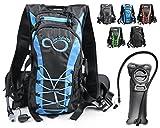 Live Infinitely Hydration Backpack with 2.0L TPU Leak Proof Water Bladder- 600D Polyester -Adjustable Padded Shoulder, Chest & Waist Straps- Silicon Bite Tip & Shut Off Valve- (Blue Edges)