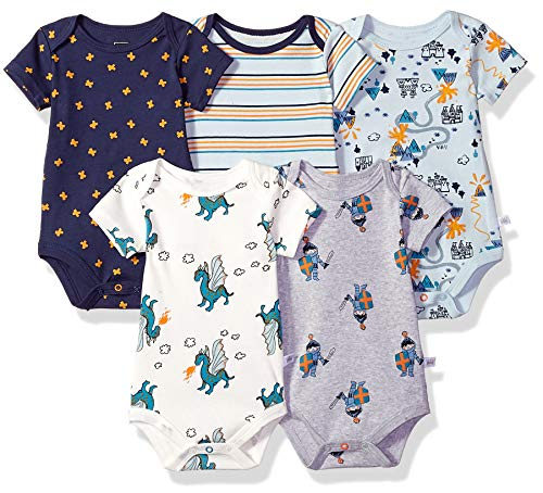 Rosie Pope Kids' Toddler Baby 5-Pack Bodysuits, Dragons, 0-3 - Dragon Body