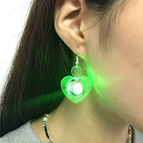 Aibote 1 Pair Stainless Heart Shape Earring LED Light Up Bright Stud Glowing Crystal Earrings For Girls Ladies Men Women Dance Party Bar (Green, Heart)