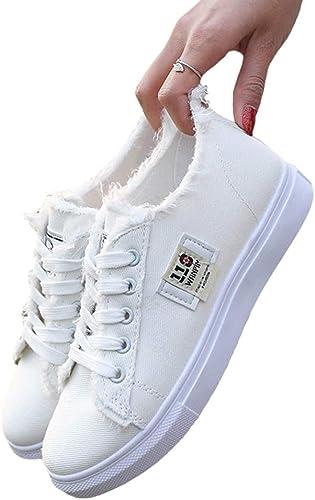Zapatos de Lona con Cordones de señora para Mujer Punta Redonda ...