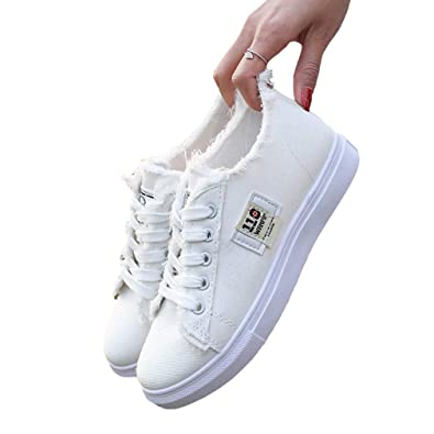 7e5a17512d Yying Women Lady Lace-up Canvas Shoes Round Toe Casual Flat Gym Sport  Running Low