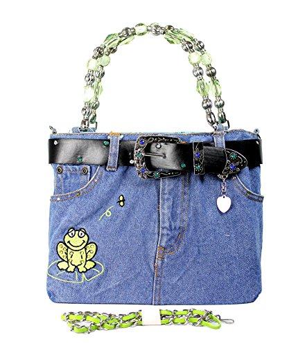 Fashion-Bag Jean Purse w/Belt & Key Chain/Frog Black