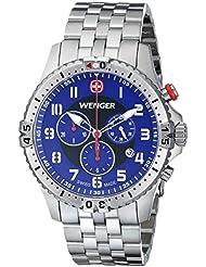 Wenger Mens 77060 Squadron Chrono Analog Display Swiss Quartz Silver Watch