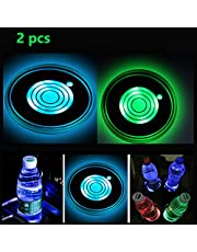 2pcs LED Cup Holder Lights, LED Car Coasters with 7 Colors Luminescent Cup Pad, USB Charging Cup Mat for Drink Coaster Accessories Interior Decoration Atmosphere Light.