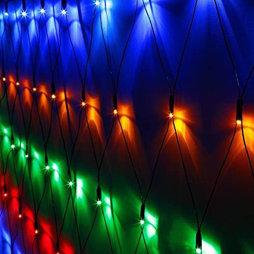TORCHSTAR 9.8ft × 6.6ft Blackish Green LED Net Mesh String Lights, 204 LEDs, Multicolor Extendable 8 Modes Fairy Mesh Lights for Bushes, Garden, Wedding, Party (For Trees Net Lights Outdoor)