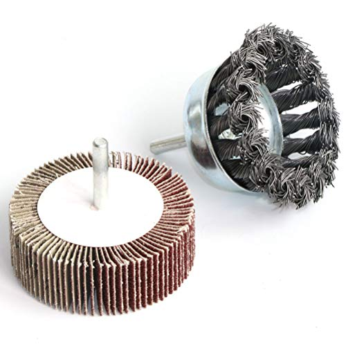 2PCS 3 Inch Knotted Wire Cup Brush & Flap wheel Set,Perfect For Rust Removal, Corrosion and Paint,Hardened Steel Wire for Reduced Wire Breakage & Longer Life,with 1/4