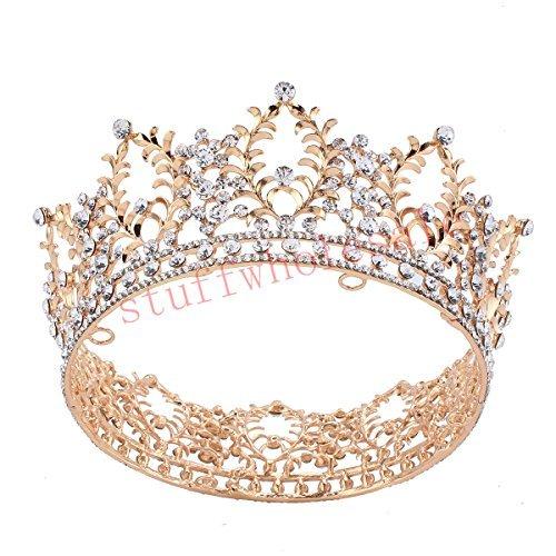 Stuffwholesale Gold Crown Crystal Rhinestone Women's Tiara Prom Party Hair Jewelry -