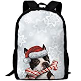 ZQBAAD The Lovely Dog Is Wearing A Christmas Hat Luxury Print Men And Women's Travel Knapsack