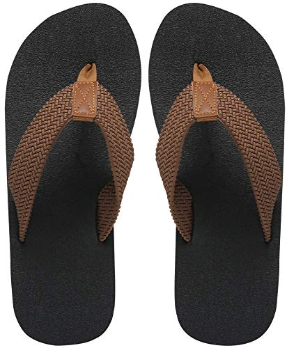 Brown Rubber Thong - MAIITRIP Mens Flip Flops Size 13,Summer Beach Shoes,Non-Slip Rubber Shower Thong Sandals,Brown