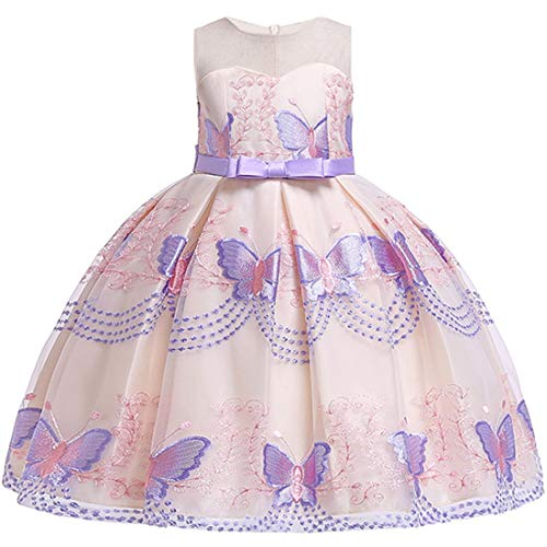5T Dresses for Girls Size 4 Easter Christmas Party Dress for Toddlers Size 5 Embroidered Butterfly Sleeveless Special Occasion Dress Purple Prom Bridesmaid Dresses for Girls Cute Outfits (Purple 120) -