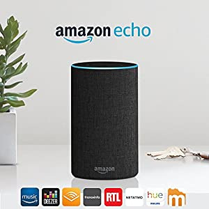Amazon Echo (2ème génération), Enceinte connectée avec Alexa, Tissu anthracite 2