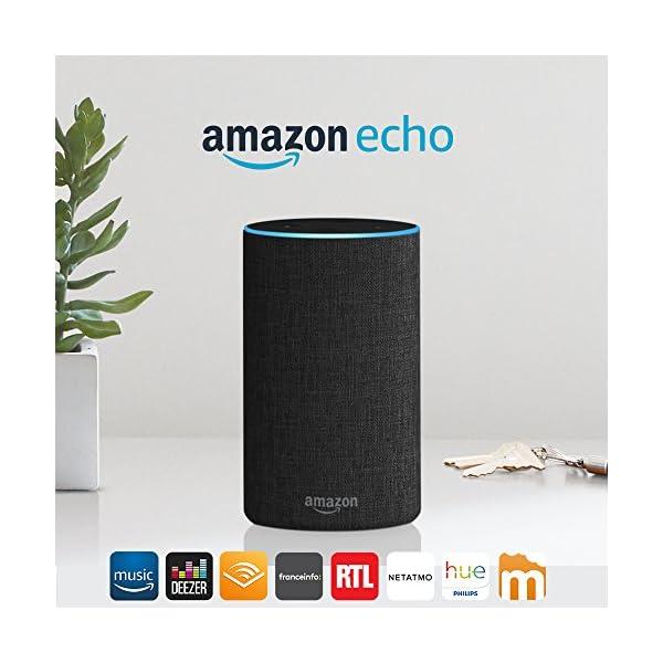 Amazon Echo (2ème génération), Enceinte connectée avec Alexa, Tissu anthracite 1
