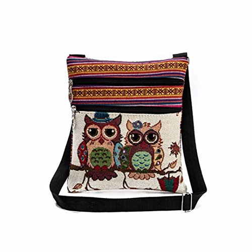Package Women Tote Handbags Postman Paymenow Shoulder Postman Linen Owl Crossbody Bag Bags Embroidered A 7P0cncx