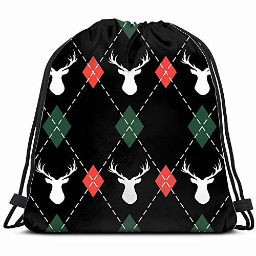 Christmas New Year Argyle Deers Abstract Holidays Drawstring Backpack Gym Sack Lightweight Bag Water Resistant Gym Backpack For Women&Men For Sports,Travelling,Hiking,Camping,Shopping - Deer Argyle