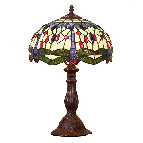 Bieye L11402 Dragonfly Tiffany Style Stained Glass Table Lamp with 12 Inch Wide Handmade Shade, Metal Base with Dark Brown Baking Finish, 19 inch Tall