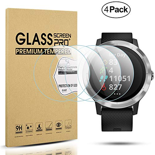 Diruite 4-Pack for Garmin Vivoactive 3 Tempered Glass Screen Protector (Not Fit for Vivoactive 3 Music) [Anti-Scratch] [Perfectly Fit] [Optimized Version] - Permanent Warranty Replacement