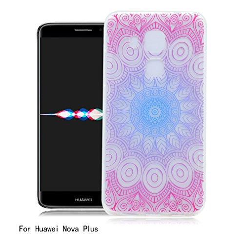 Funda Huawei Nova Plus, Ronger Carcasa Transparente Suave Estilo TPU [Patrón Vistoso Nuevo] Caja Protector Liso Funda del Teléfono Móvil Ultra Delgado [Cristal Liquido] Carcasa Silicona Anti-Rasguños  Mandala Rojo
