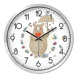 Cartoon Animal Grizzly Bear Pattern Wall Clock Silvery Border Clock Bedroom Living Room Mute Quartz Clock (Size : L)