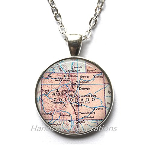 Charming Necklace,Colorado map Pendant, Colorado Necklace Colorado state map Pendant map jewelry map Necklace Rocky Mountains,AO157 (Colorado Jewelry Map)