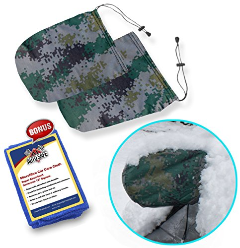 SnowOFF Camouflage Car Side Mirror Snow Covers Set - Protect Auto Exterior Rear View Mirrors from Snow Ice Frost - BONUS Cloth - Automotive Door Armor - Fit Cars, CRVs some SUV - Like Windshield Cover