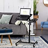Tangkula Laptop Desk Mobile Desk Cart Angle & Height Adjustable Laptop Stand Cart Computer Desk with Smooth & Lockable Casters Mobile Lap Workstation Notebook Cart Over Bed Table for Home Office,Black