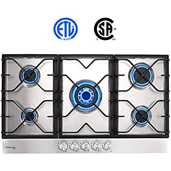 Gas Cooktop, Gasland chef GH90SF 36 Built-in Gas Stove Top, Stainless Steel LPG Natural Gas Cooktop, Gas Stove Top with 5 Sealed Burners, ...