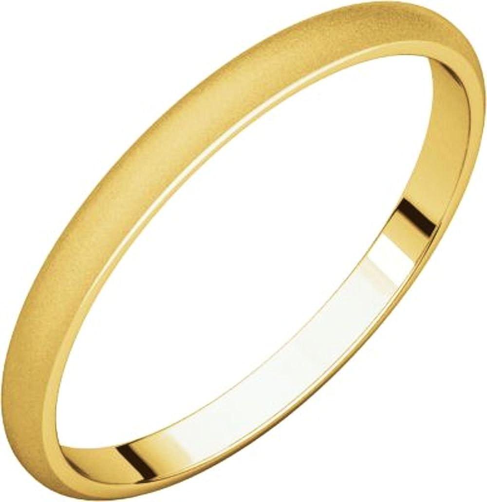 Size 13 Bonyak Jewelry 14k Yellow Gold 2 mm Half Round Lightweight Band
