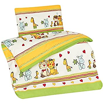 Aminata Kids Kinder Bettwäsche 100 X 135 Cm Zoo Tier E Safari